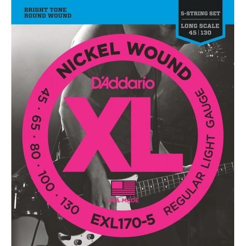 Cuerdas D'Addario EXL 170-5 Regular Light Gauge