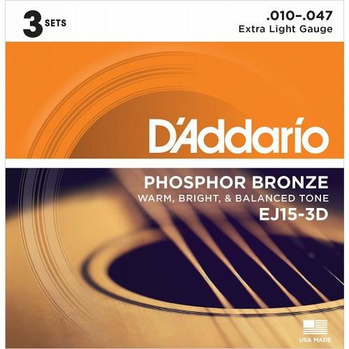 Cuerdas D'Addario EJ15-3D Extra Light Gauge